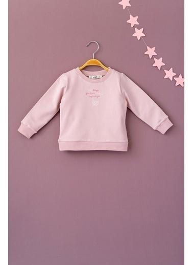 Cigit Yaprak ve Yazı Nakışlı Sweatshirt Renkli